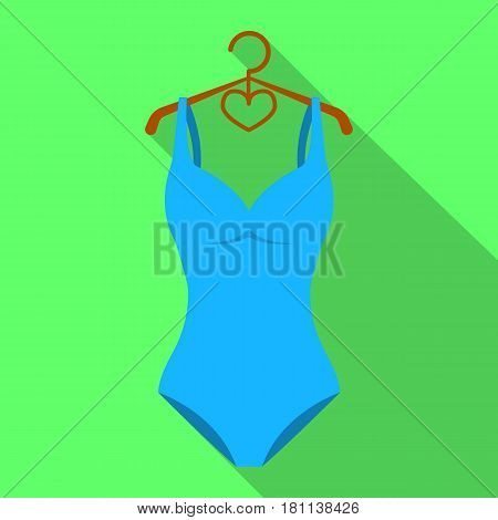 Monotone blue swimsuit for girls. Bathing clothes in the pool.Swimcuits single icon in flat style vector symbol stock web illustration.