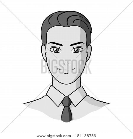 Avatar of a man in a shirt.Avatar and face single icon in monochrome style vector symbol stock web illustration.