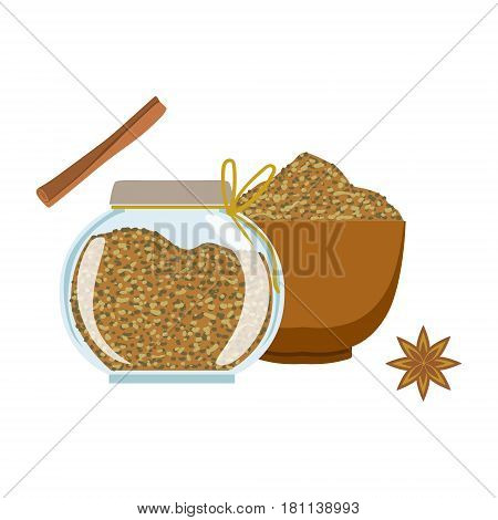 Fennel seeds in a wooden bowl and glass jar. Colorful cartoon illustration isolated on a white background