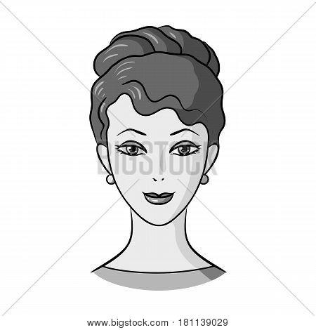 Avatar of a girl with brown hair.Avatar and face single icon in monochrome style vector symbol stock web illustration.