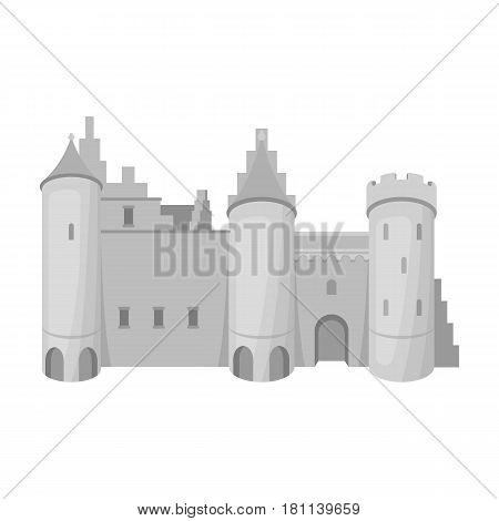 Protective Castle of belgium.The dark Belgian wolf. Belgium single icon in monochrome style vector symbol stock web illustration.