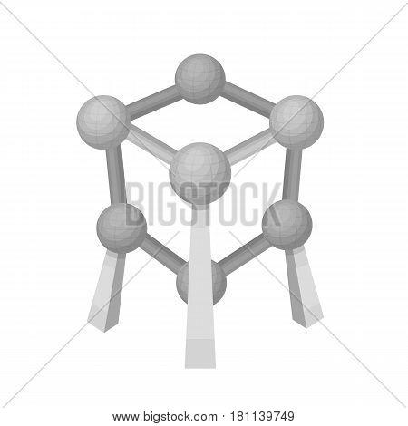 Monument to the atom in Belgium.The dark Belgian wolf. Belgium single icon in monochrome style vector symbol stock web illustration.