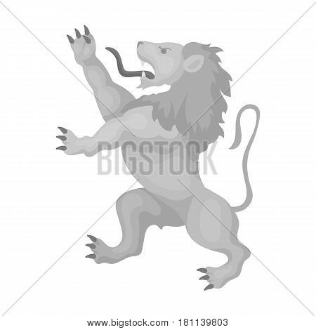 Golden lion symbol of belgium.The dark Belgian wolf. Belgium single icon in monochrome style vector symbol stock web illustration.