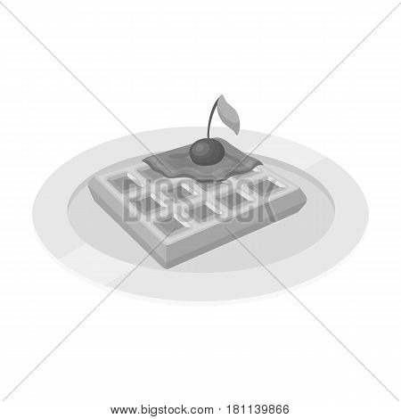 Wafers with cherry syrup on a plate.The dark Belgian wolf. Belgium single icon in monochrome style vector symbol stock web illustration.