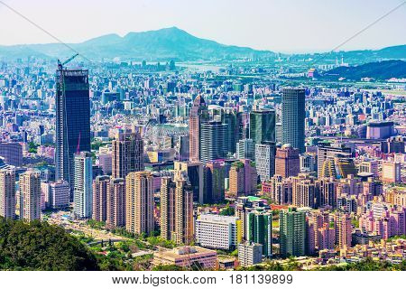 TAIPEI TAIWAN - MARCH 24: This is a view of Xinyi financial district architecture and the downtown area of Taipei on March 24 2017 in Taipei