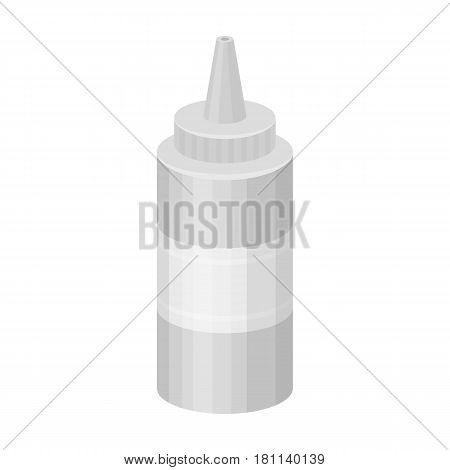 Bottle with mustard.Burgers and ingredients single icon in monochrome style vector symbol stock web illustration.