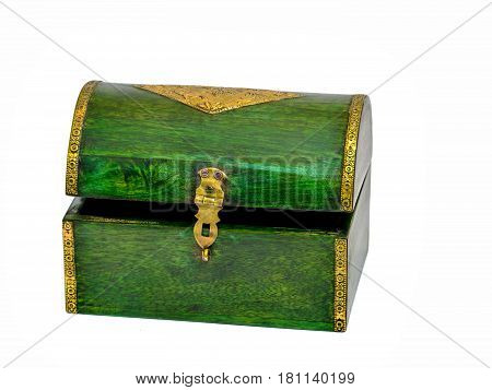 Vintage wooden green casket from India isolated on white