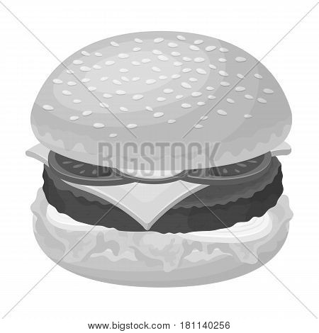 Ready burger with all the ingredients.Burgers and ingredients single icon in monochrome style vector symbol stock web illustration.