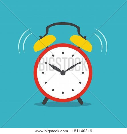 Alarm clock red wake-up time isolated on background in flat style. Vector stock.