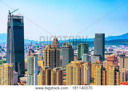 TAIPEI TAIWAN - MARCH 24: This is a view of the Xinyi financial district architecture in downtown Taipei on March 24 2017 in Taipei