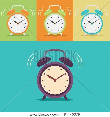 Alarm clock in different colors. Alarm clock isolated on background in flat style. Vector stock.