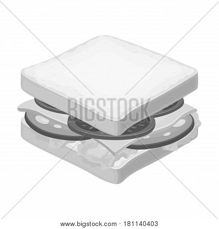 A sandwich with bread and sausage.Burgers and ingredients single icon in monochrome style vector symbol stock web illustration.