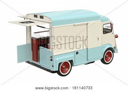 Food truck mobile eatery with open doors. 3D rendering
