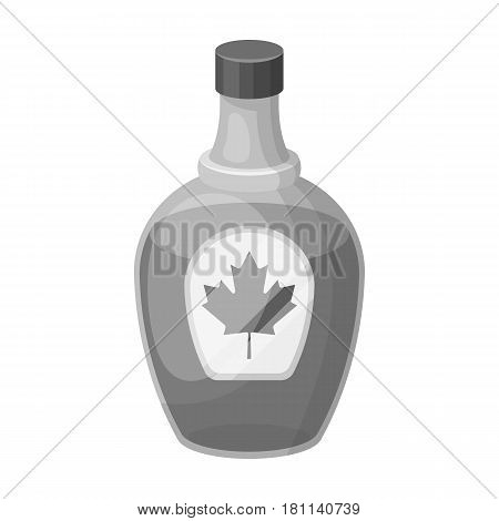 Canadian maple syrup in a bottle. Canada single icon in monochrome style vector symbol stock illustration .