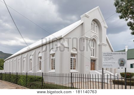 GRAAFF REINET SOUTH AFRICA - MARCH 22 2017: The Reformed Church in Graaff Reinet in the Eastern Cape Province