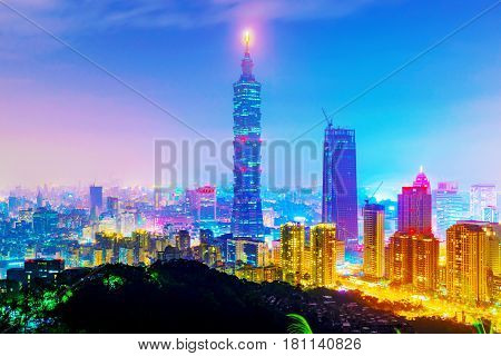 TAIPEI TAIWAN - MARCH 20: This is a view of the Taipei 101 building and Xinyi financial district taken from Elephant mountain at night on March 20 2017 in Taipei