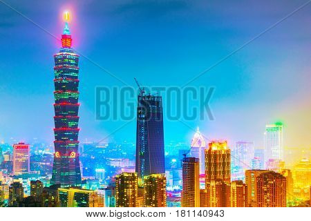 TAIPEI TAIWAN - MARCH 20: This is a night view of Taipei 101 and Xinyi financial district architecture taken from Elephant mountain on March 20 2017 in Taipei