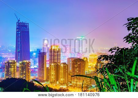 TAIPEI TAIWAN - MARCH 20: This is a view of Xinyi financial district in the downtown area of Taipei taken from a mountain at night on March 20 2017 in Taipei