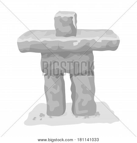 Stone sculpture in canada. Canada single icon in monochrome style vector symbol stock illustration .