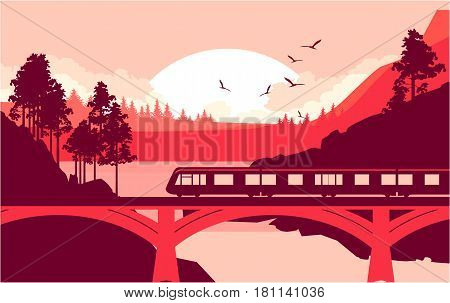 Vector illustration of a locomotive a train riding at high speed on a railway bridge in a mountain wilderness