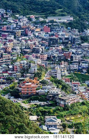 View of Jiufen town houses in Taiwan