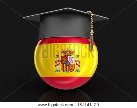 3d illustration. Graduation cap and Spanish flag. Image with clipping path