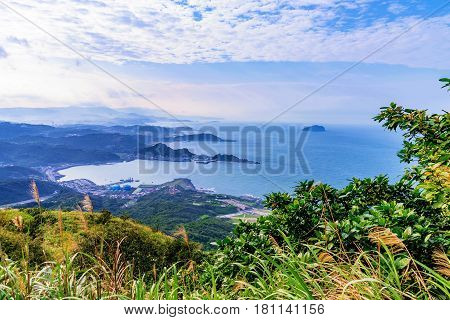 Mountain view of sea and countryside in Taiwan