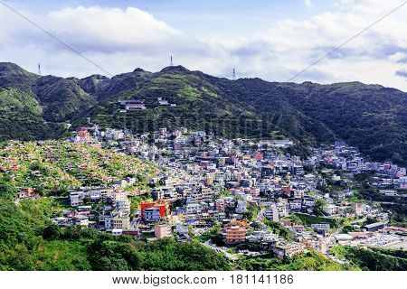 View of jiufen town from Jilong mountain in Taiwan