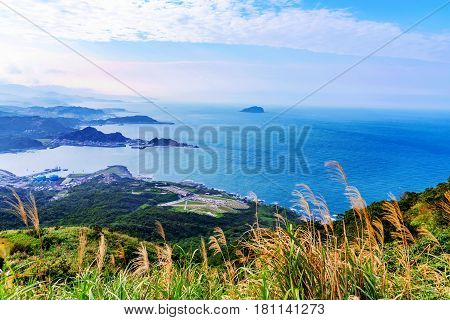 Hillside view of Keelung countryside and sea in Taiwan