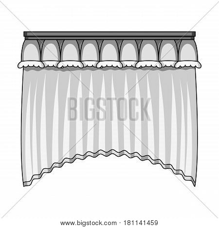 Curtains with drapery on the cornice.Curtains single icon in monochrome style vector symbol stock illustration .