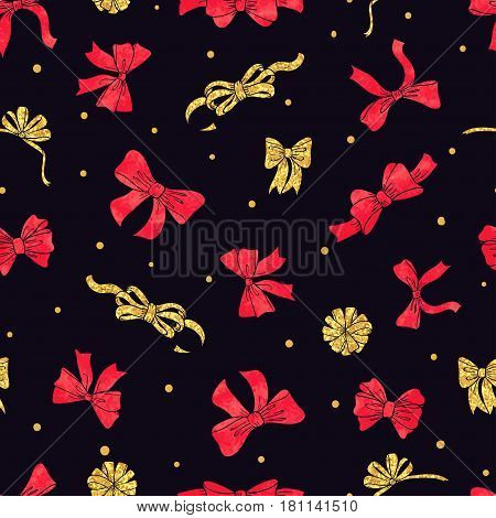 Seamless red and golden bows pattern. Vector bright celebration background for birthday Christmas New Year design.