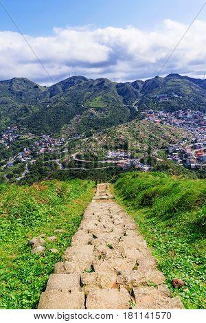 Walking path of mountain steps onJilong mountain Taiwan