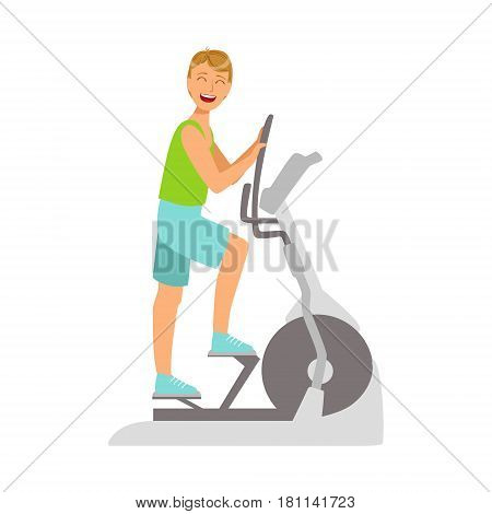 Young man working out using elliptical trainer. Active sport lifestyle. Colorful cartoon character isolated on a white background