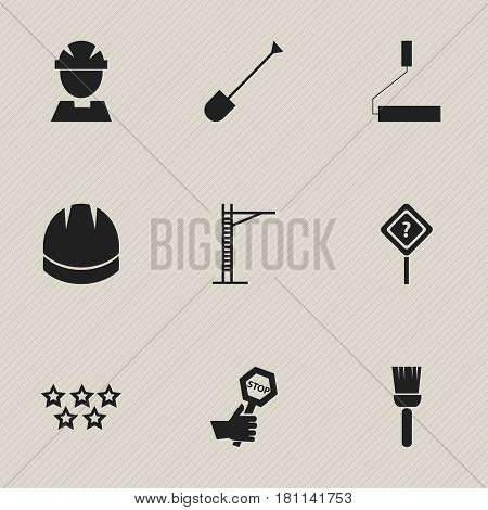 Set Of 9 Editable Construction Icons. Includes Symbols Such As Mop, Spade, Hoisting Machine And More. Can Be Used For Web, Mobile, UI And Infographic Design.