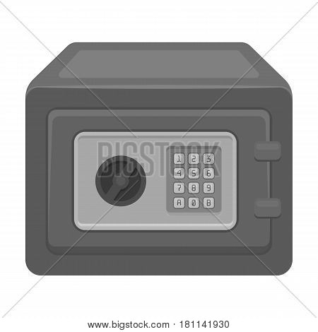 Realistic Steel safeSafe under combination lock. Metal box is hard to open.Detective single icon in monochrome style vector symbol stock web illustration.