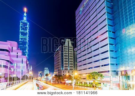 TAIPEI TAIWAN - MARCH 04: This is a view of Taipei 101 and Xinyi financial district architecture at night on March 04 2017 in Taipei