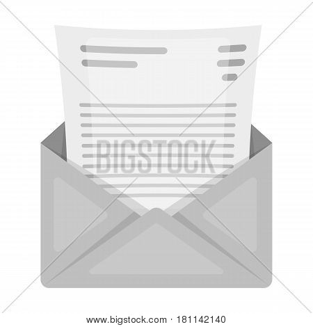 The envelope with the letter inside.A letter for the detective.Detective single icon in monochrome style vector symbol stock web illustration.