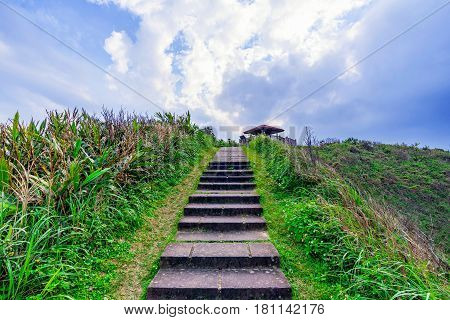 Mountain path stairs and nature in Taiwan