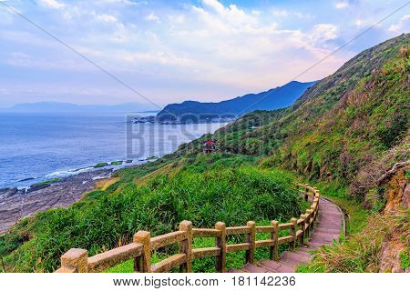 Mountain trail with ocean in the distance in Taiwan
