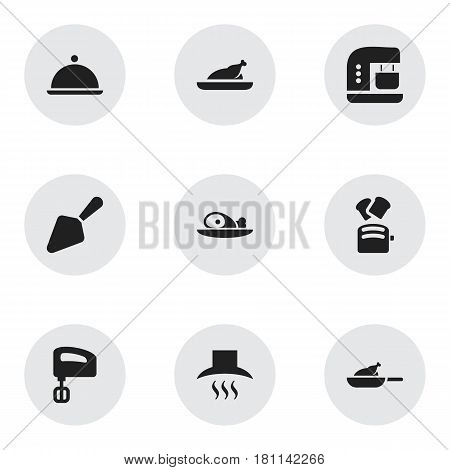 Set Of 9 Editable Cook Icons. Includes Symbols Such As Agitator, Fried Chicken, Meat And More. Can Be Used For Web, Mobile, UI And Infographic Design.