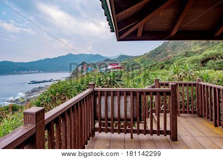 Pavillion over looking mountain and sea in Taiwan