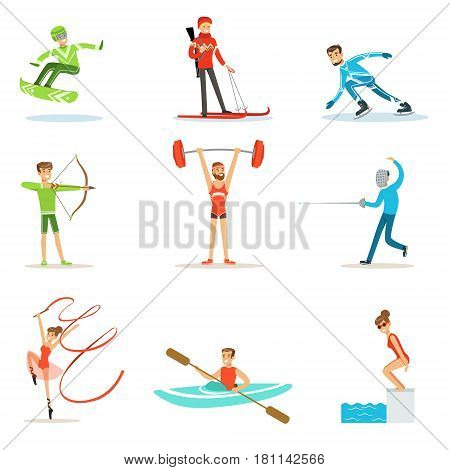 Adult People Practicing Different Olympic Sports Set Of Cartoon Characters In Sportive Uniform Participating In Competition. People Doing Sportive Workout As Hobby OR Profession In Sports Outfit Smiling Vector Illustration.