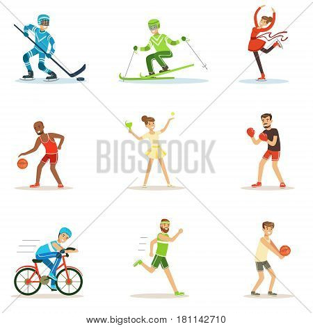Adult People Practicing Different Olympic Sports Series Of Cartoon Characters In Sportive Uniform Participating In Competition. People Doing Sportive Workout As Hobby OR Profession In Sports Outfit Smiling Vector Illustration..