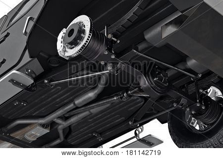 Car transport crossover suspension, close view. 3D rendering