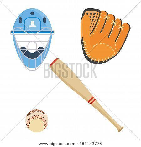 Baseball equipment set. Bat, ball, softball gloves, batting helmets. Flat vector cartoon illustration. Objects isolated on a white background.