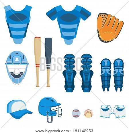 Baseball equipment set. Bat, ball, softball gloves, batting helmets, catcher gear and leg guards. Flat vector cartoon illustration. Objects isolated on a white background.