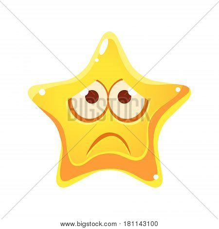 Emotional face of yellow star, sad and unhappy, cartoon character isolated on a white background