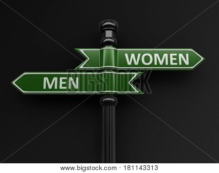 3d illustration. Men and women pointers on signpost. Image with clipping path