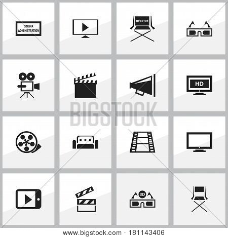 Set Of 16 Editable Cinema Icons. Includes Symbols Such As Camera Strip, Tape, Clapper And More. Can Be Used For Web, Mobile, UI And Infographic Design.