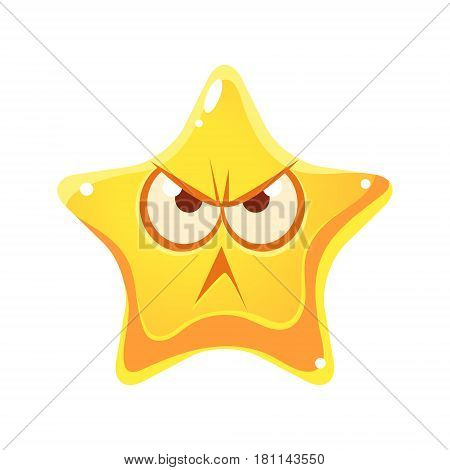 Wrathful emotional face of yellow star, cartoon character isolated on a white background